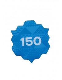 150 sinine metallist rinnamärk 45mm, nõelkinnitusega