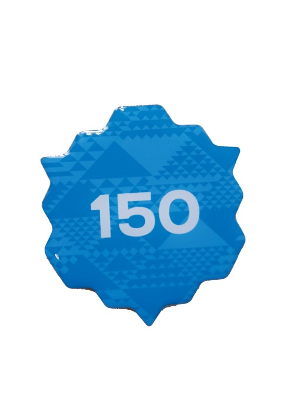 150 blue metal pin badge 45 mm