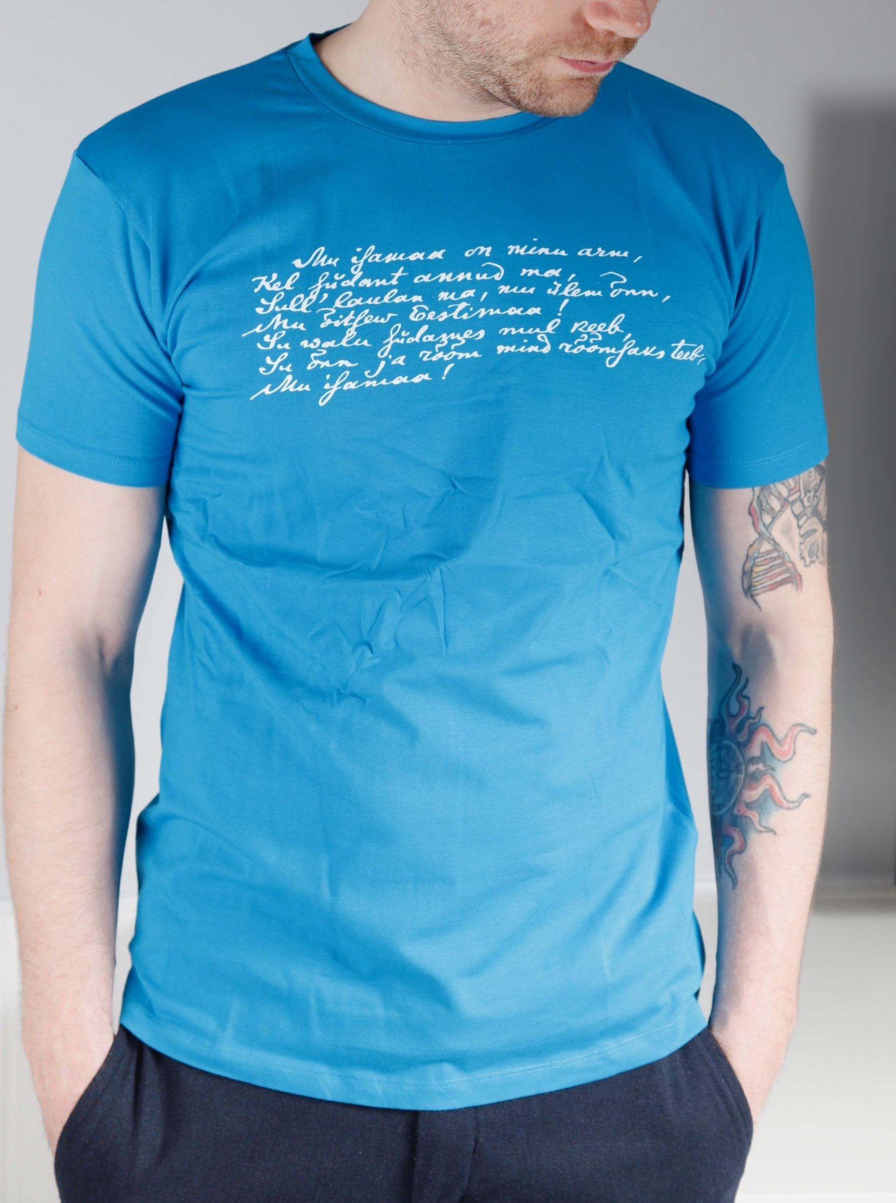 Men's blue T-shirt MINU ARM (my love)
