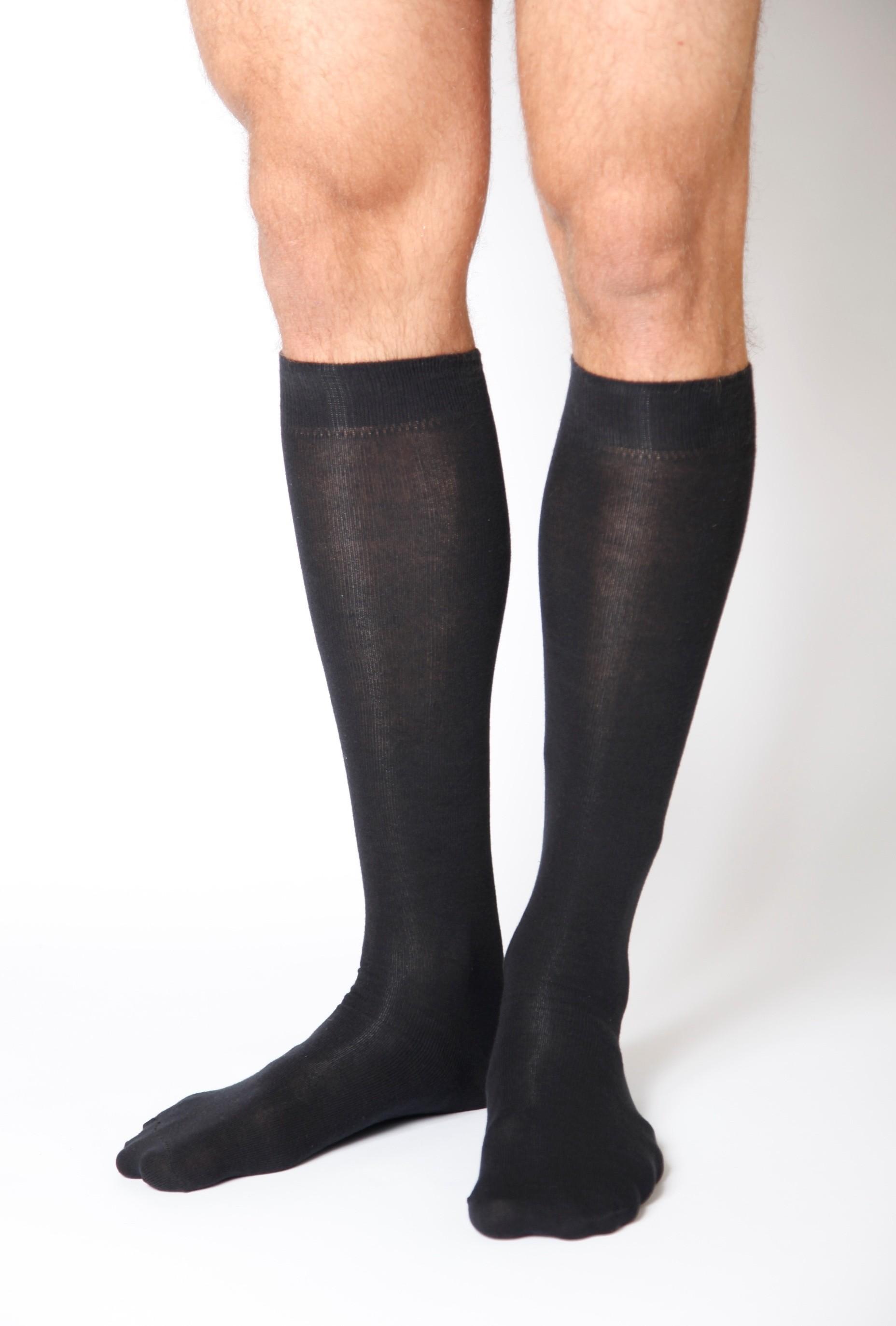 Men's cotton knee-highs, black
