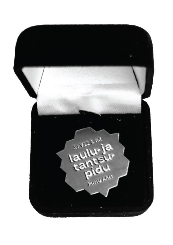 Elegant silver badge