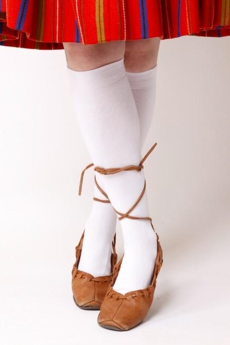 Women's cotton knee-highs, white