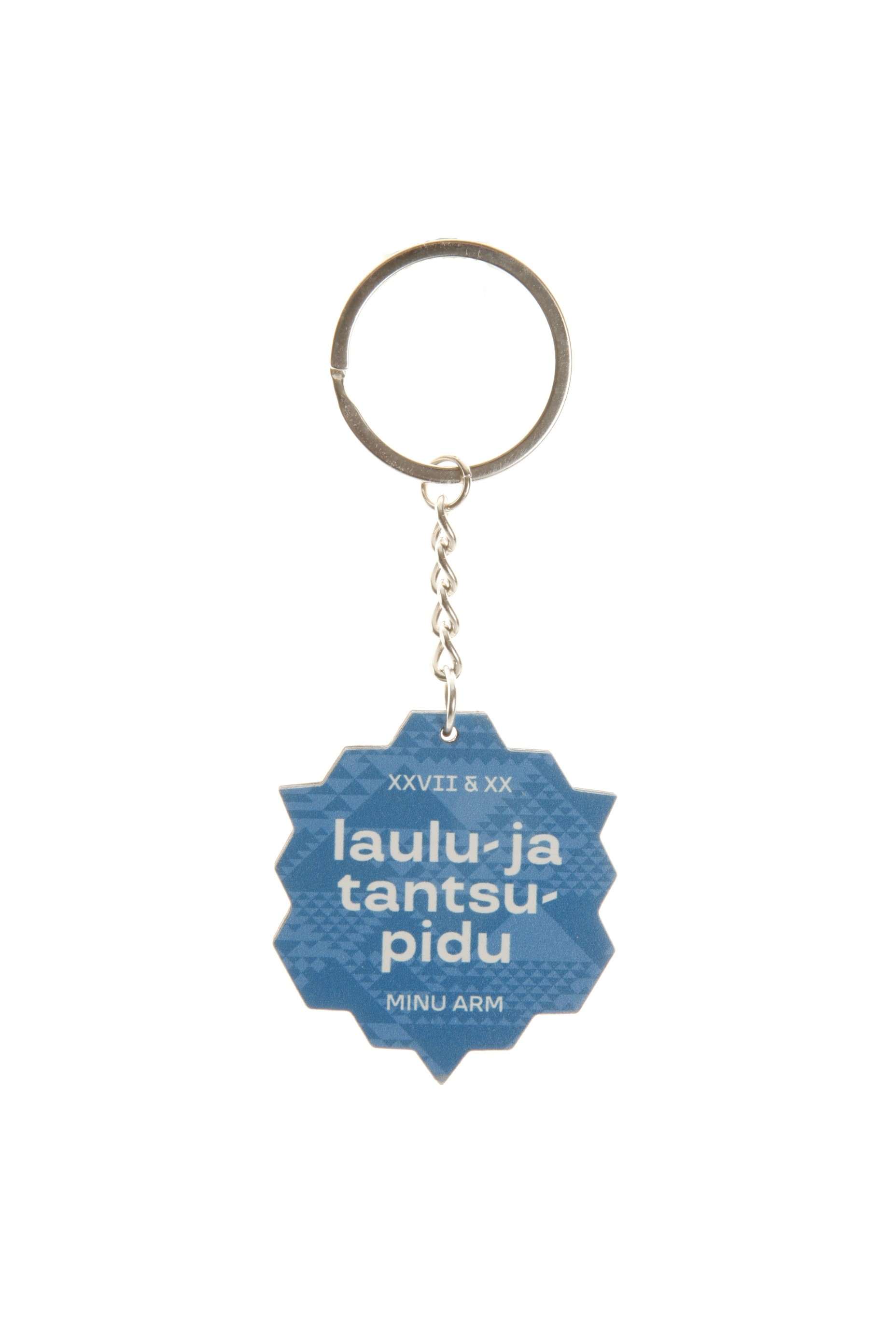 Blue wooden keychain with a Song and Dance Celebration logo
