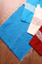 Blue rag rug made of Song Celebration T-shirts 45 x 52 cm
