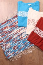 Blue, brown and white rag rug made of Song Celebration T-shirts 45 x 52 cm