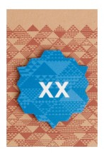 XX blue wooden pin badge, 50 mm