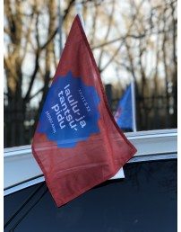 Brown car flag with a Song and Dance Celebration logo