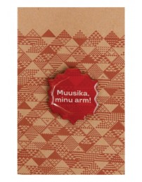 Music, my love! brown metal magnet badge, 30 mm