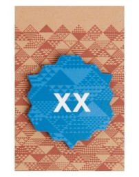 XX blue wooden pin badge, 50 mm