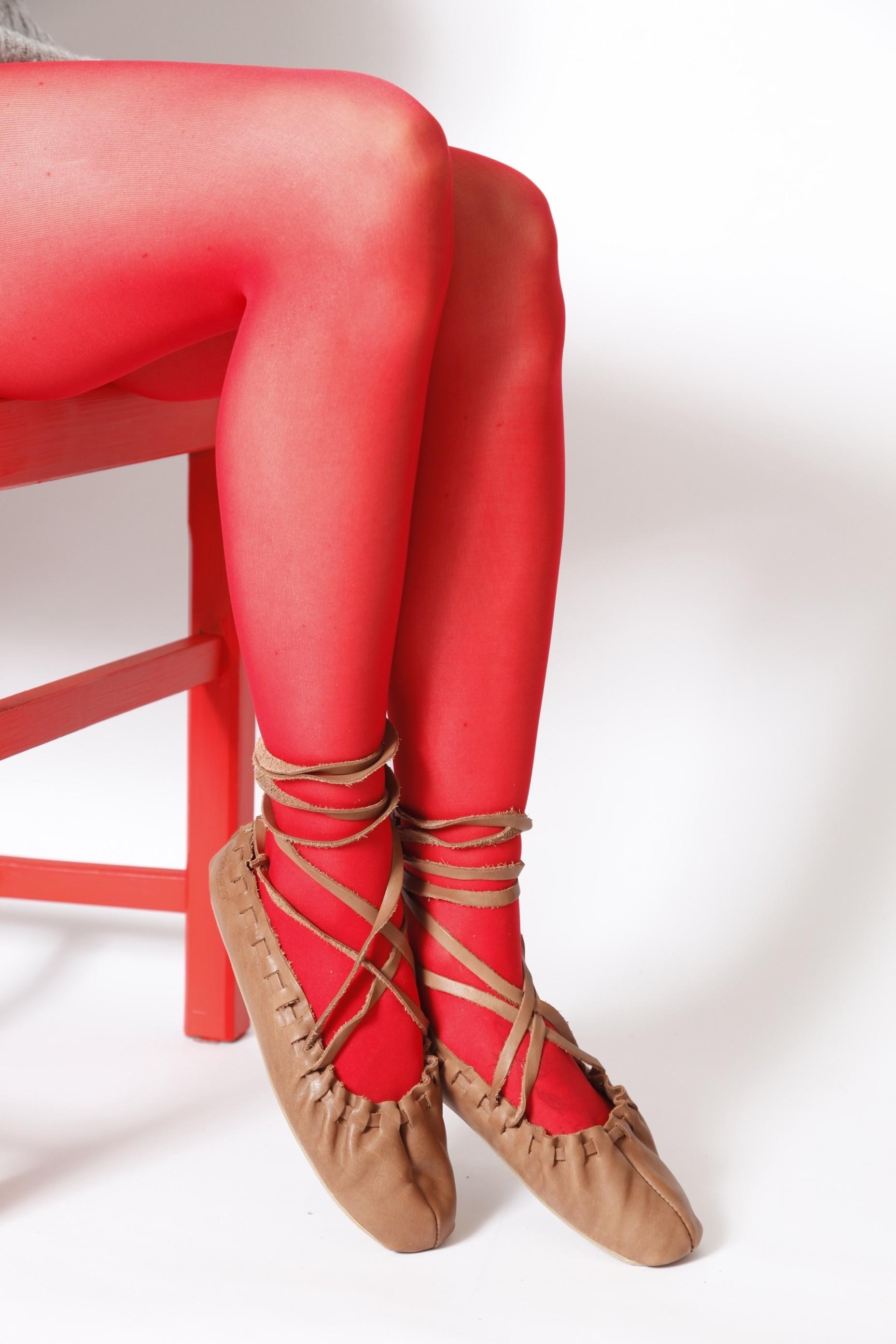 Женские колготки для народного костюма ECOCARE 3D 40DEN recycled, цвет: красный