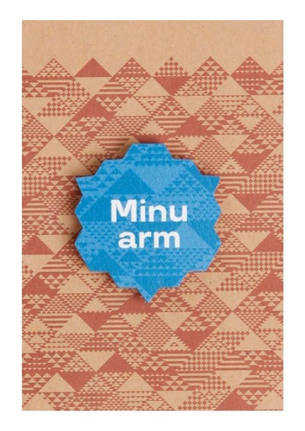 """Деревянный значок с магнитным креплением """"Minu arm"""" (Моя любовь), 35 мм, цвет: синий"""