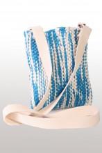 Laulupeo särkidest valmistatud sinine-valge õlakott 18 x 21 cm