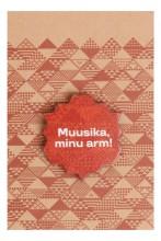 """Деревянный значок с цанговым креплением """"Muusika, minu arm!"""" (Музыка, моя любовь!), 35 мм, цвет: коричневый"""