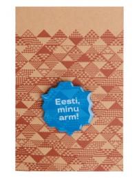 """Металлический значок с цанговым креплением """"Eesti, minu arm!"""" (Эстония, моя любовь), 30 мм, цвет: синий"""