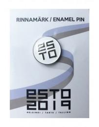 Нагрудный значок ESTO с креплением «цанга-бабочка», цвет: белый