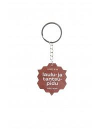 Деревянный брелок для ключей, посвящённый Празднику песни и танца, цвет: коричневый